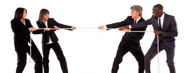 A tug of war can happen between rival web designers, but collaboration is best.