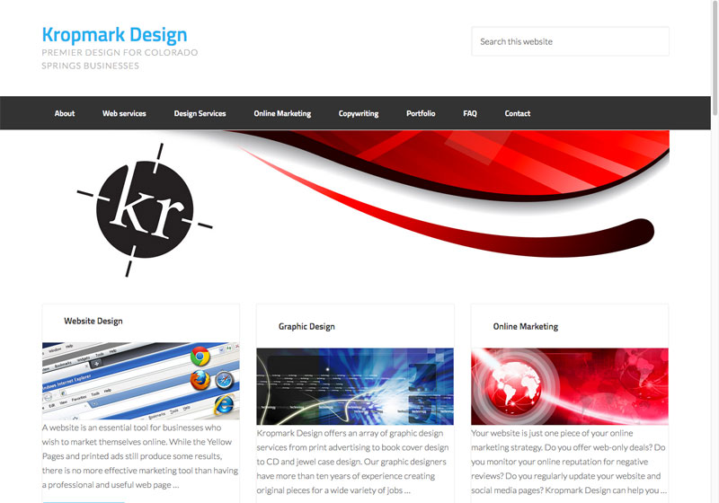 Kropmark website before custom CSS is added.